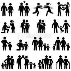 Love and family life black & white icon set Royalty Free Stock Vector Art Illustration Free Vector Graphics, Free Vector Art, Vector Icons, Stick Figure Drawing, Stick Figure Family, Composition Art, Clipart Black And White, Black White, Family Illustration
