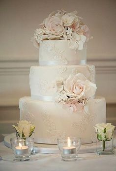 Wedding Ideas: 20 Romantic Ways to Use Lace - wedding cake; Claire Graham