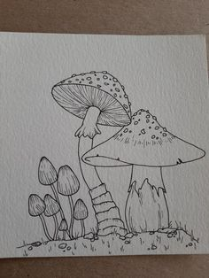 Mushroom drawing to test out some new pens :) : drawing Indie Drawings, Trippy Drawings, Psychedelic Drawings, Art Drawings Sketches Simple, Fantasy Drawings, Drawings In Pen, Drawing With Pen, Mouth Drawing, Fairy Drawings