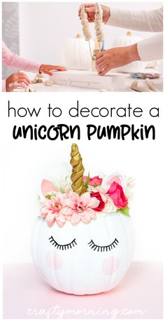Learn how to decorate a unicorn pumpkin for Halloween! Pumpkin decorating idea f… Learn how to decorate a unicorn pumpkin for Halloween! Pumpkin decorating idea for the kids to do. How to make a clay unicorn horn.