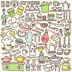 Vinyl Wall Mural Cute Doodle Kitchen Stuff ✓ Easy Installation ✓ 365 Day Money Back Guarantee ✓ Browse other patterns from this collection!