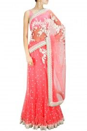 Pink threadwork and pearl embellished sari with satin blouse piece
