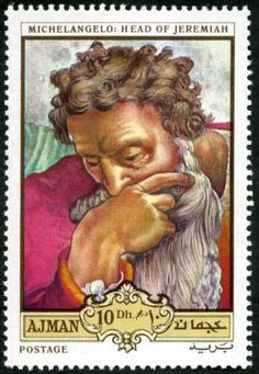 "Ajman Stamp - painting by Michaelangelo ""Head of Jeremiah"""