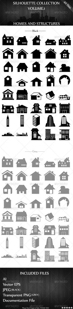 Silhouette Collection Vol.1 - Homes and Structures #GraphicRiver File Description Presenting exclusively on GraphicRiver, 40 Home and Structure Silhouettes designed as 100% Vector in Adobe Illustrator. Specifications Silhouettes are provided in 2 colors. The Usual Black and Grey Document Resolution is 1920×3000 with RGB color Mode at 300dpi for High Quality Suitable for any Graphic Designs,Logo Templates and Present