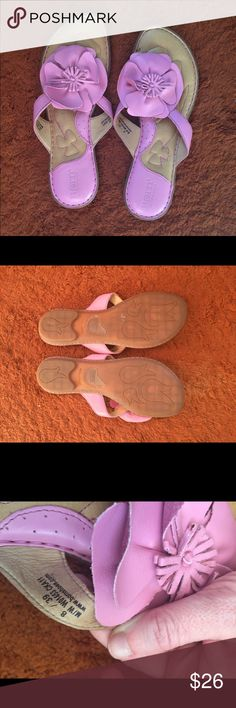 Born pink leather flower flip flops Stunning Born pink floral leather flip flops. Worn twice, extremely comfortable. Born Shoes Sandals