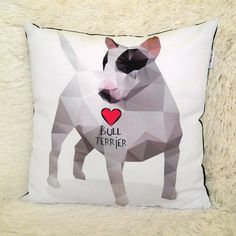 Decorative Pillow I love Bull Terrier by PSIAKREW on Etsy