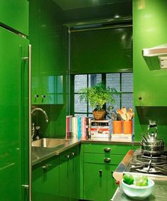 Miles Redd small green laquered kitchen
