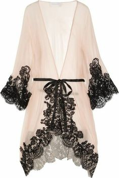 Every woman needs a sexy robe. Rosamosario 'Mezza Luna' Silk Crepe and Lace Robe via the Lingerie Addict. It would be impossible not to feel like a screen goddess walking around the house in this sheer gown with black lace. Belle Lingerie, Kimono Lingerie, Lingerie Design, Lingerie Babydoll, Pretty Lingerie, Wedding Lingerie, Beautiful Lingerie, Sexy Lingerie, Vintage Lingerie