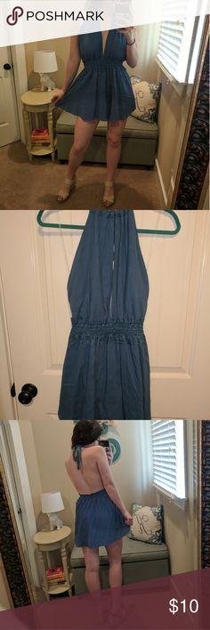 Shinestar Romper Blue deep-neck, backless romper. Shorts under skirt. Never been worn. Perfect for sunny days Shinestar Other