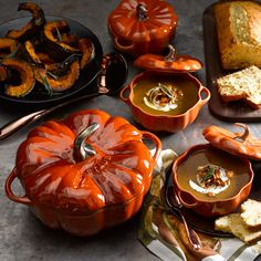 Bake and serve individual portions of soups, casseroles or vegetables with these charming ceramic pumpkins.