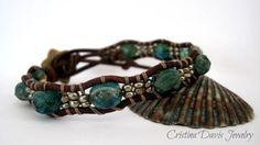 Leather Wrap Bracelet Aqua Blue Picasso by CristinaDavisJewelry, $25.00