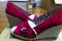 Razorback Toms Wedges sarassshoes@gmail.com #wps #toms #arkansas #razorbacks #hogs #sarassshoes