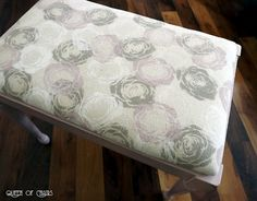 Fabric using Chalk Paint® decorative paint by Annie Sloan in Pure White, Coco & Antoinette on a canvas drop cloth.