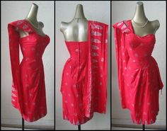 VTG 40s/50s RED & METALLIC SILVER SILK SCREENED PINUP SARONG DRESS*46SASH*XS/S