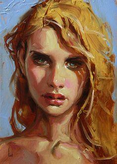 """Sunshine - John Larriva, oil on hardboard, 2015 {figurative #impressionist art beautiful blonde female head woman face portrait painting} larriva.blogspot.com"