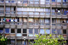 Council flats - washing hanging on balcony