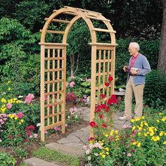 Arboria Victoria 7.25-ft. Cedar Arch Arbor - The Arboria Victoria 7.25-ft. Cedar Arch Arbor is truly an entrance fit for a queen. Special attention has been given to the design and construction...