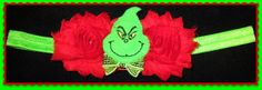 Mr Grinch headbandshabby chicbaby by christiencollection on Etsy, $7.00