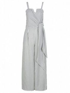 Woven fabric Stripe design Wrap front Tie side Fitted waistband