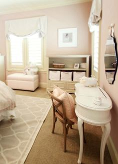 Marie Flanigan Interiors: Beautiful pink and gray girl's bedroom with soft pink walls and white and gray trellis ...