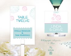 'WORDS & ROMANCE' #Wedding #Invitations, #Table #Cards #Menus and #Gift or #Swing #Tags. Goes from country elegance to beach and urban chic. Works well with white, blush, sea foam, ivory, taupe, hot pink, crystal.  | © Julinda at Magnolia & Rose Weddings