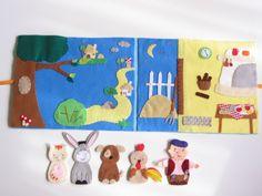 A brémai muzsikusok- ujjbáb készlet és mini bábszínház, Baba-mama-gyerek, Játék, Báb, Készségfejlesztő játék, Meska