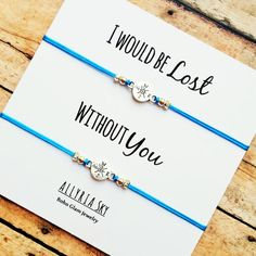 "Compass Friendship Bracelet Set with ""I Would Be Lost Without You"" Card 