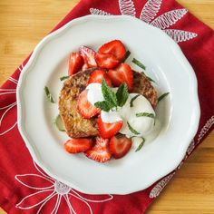 Norwegian Cinnamon Toast with Macerated Strawberries and Mint Sour Cream