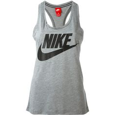 Nike logo print tank ($29) ❤ liked on Polyvore featuring tops, grey, scoop neck tank top, nike top, grey tank top, racer back tank and gray tank