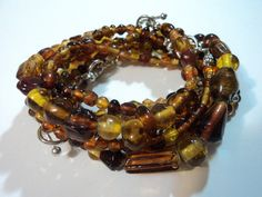 Handmade, Hippie, Boho, Gypsy, Orange, Glass, Beaded, Toggle, Stacker, Bracelets