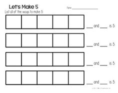 FREEBIE - These worksheet are designed to help students learn and practice the skill of decomposing numbers 5, 6, 7, 8, 9 and 10 using connecting cubes.