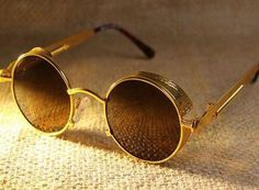 Vintage Style Gold Round Sunglasses with Antiglare by jbFARM