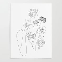 Buy Minimal Line Art Woman with Flowers III Art Print by Worldwide shipp. - Buy Minimal Line Art Woman with Flowers III Art Print by Worldwide shipping available at So - Line Art Flowers, Flower Art, Line Flower, Buy Flowers, Simple Flower Drawing, Drawing Flowers, Summer Flowers, Flower Prints, Minimal Art