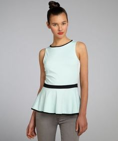 style mint and black jersey knit colorblock peplum top Casual Couture, Color Blocking, Peplum, Mint, My Style, Envelope, Fashion Design, Black, Tops