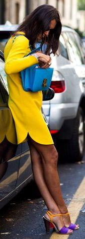neon yellow dress, blue purse