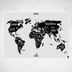 World Map Grey Poster In The Group Posters Prints Maps Cities - A1 world map poster