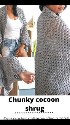 Easy Crochet Shrug, Crochet Shrug Pattern Free, Easy Crochet Stitches, Gilet Crochet, Crochet Motifs, Crochet Shirt, Easy Knitting Patterns, Chunky Crochet, Knit Crochet