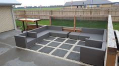 Outdoor entertainment area. Paving with limestone to create a separate area