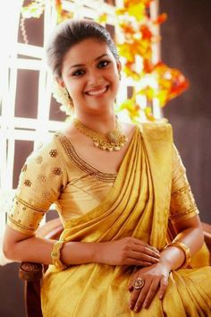 Keerthi suresh gold saree pictures