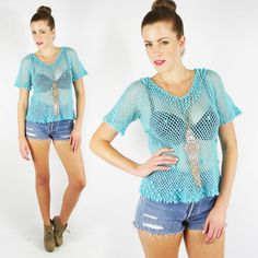 vtg 70s boho hippie TURQUOISE sheer 3D CROCHET knit FESTIVAL sweater top S/M/L #Unbranded #KnitTop #Casual