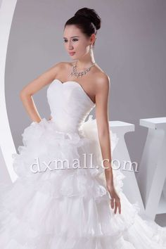 Pick Up Wedding Dresses Sweetheart Chapel Train Netting Satin White 010010900263