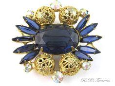 Vintage JULIANA D&E Sapphire Blue Rhinestone Filigree Ball Brooch Book Piece