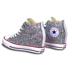 7eca4afd5b44 Women s Sparkly Silver Glitter Converse All Stars Lux Wedge Heel Wedding  Bride Shoes  Promheels Sparkly