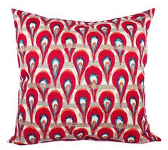 Red Pillow Covers! This listing is for two red and blue pillow covers in a thick home décor fabric. The pillow covers also feature orange,