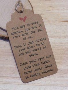 Can be PERSONALISED Christmas Santa Magic Key Poem Favor / Gift Tags