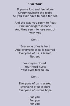 Coldplay - just read these lyrics - so true, so beautiful