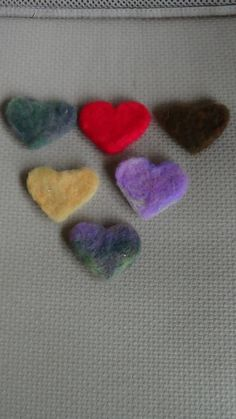 Felted hearts set of 6 craft projects home decor by rafaelart, $10.00