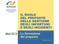 1 IL RUOLO DEL PREPOSTO NELLA GESTIONE DEGLI INFORTUNI E DEGLI INCIDENTI La formazione del preposto SiRVeSS Sistema di Riferimento Veneto per la Sicurezza.