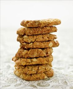 Anzac biscuits recipe by Sabrina Parrini - Preheat the oven to and grease several baking trays with the butter. Get every recipe from Little Kitchen by Sabrina Parrini Anzac Biscuits, Golden Syrup, Little Kitchen, Biscuit Recipe, Low Carb Desserts, Melted Butter, Tray Bakes, Oatmeal, Oven
