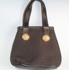 Black Fabric Handbag Leather Trimmed Inge by PastSplendors on Etsy